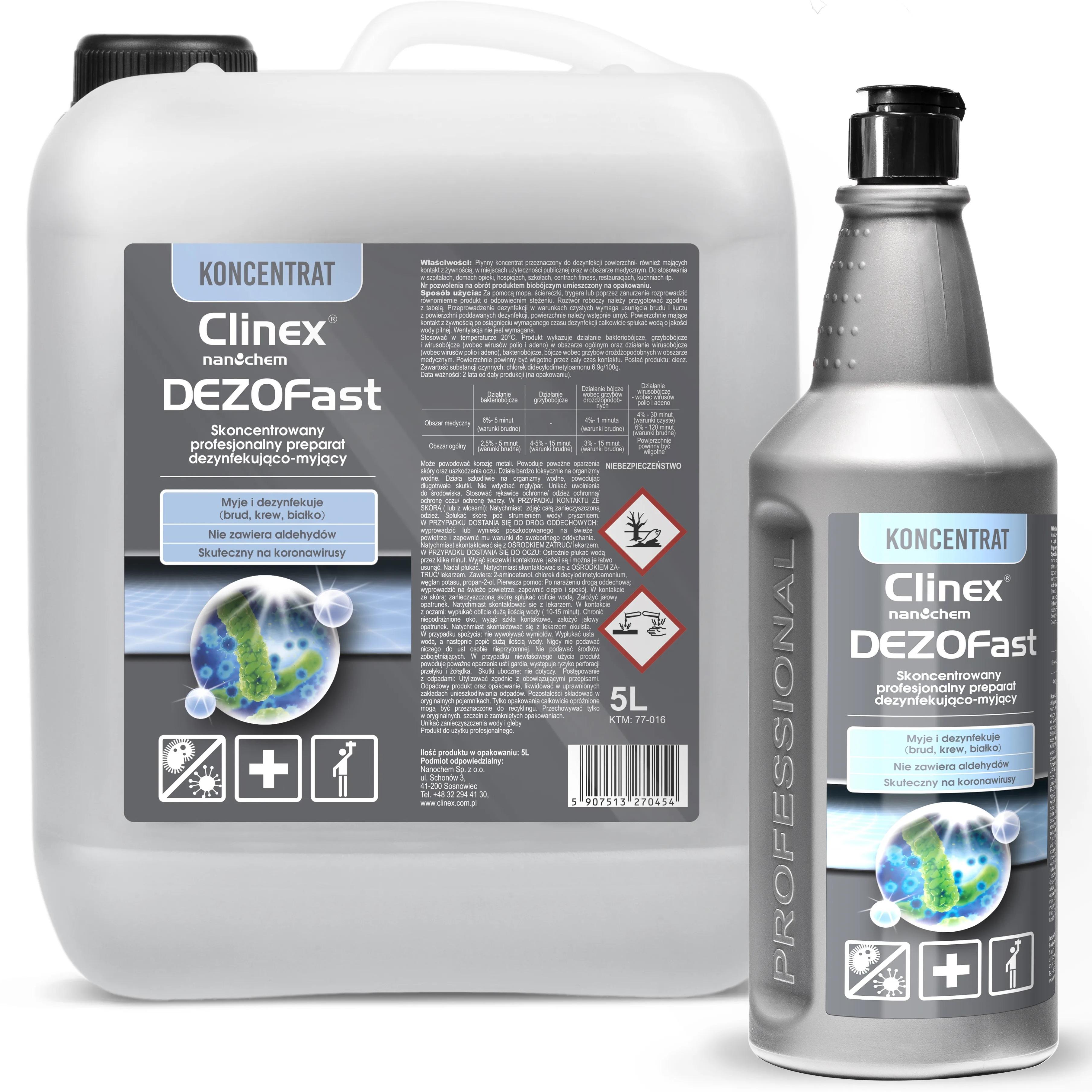 CLINEX DEZOFAST <br /> skoncentrowany preparat dezynfekująco-myjący