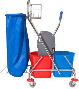 Wózek dwu wiaderkowy z prasą, koszyczkiem i uchwytem na worek