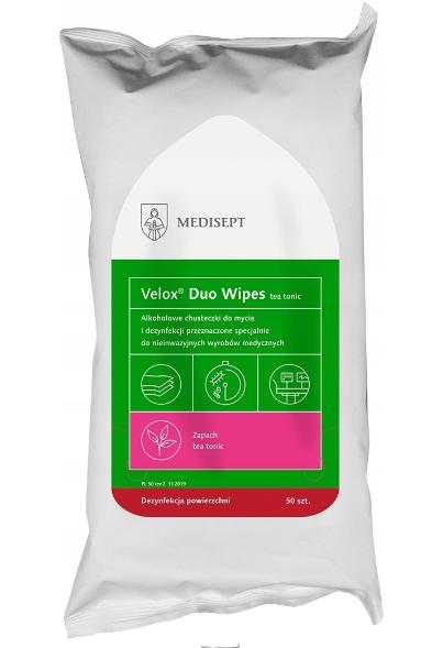 MEDISEPT VELOX DUO WIPES <br /> chusteczki do szybkiej dezynfekcji powierzchni